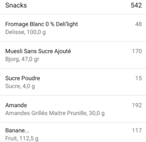 Collations myfitnesspal musculation fitness